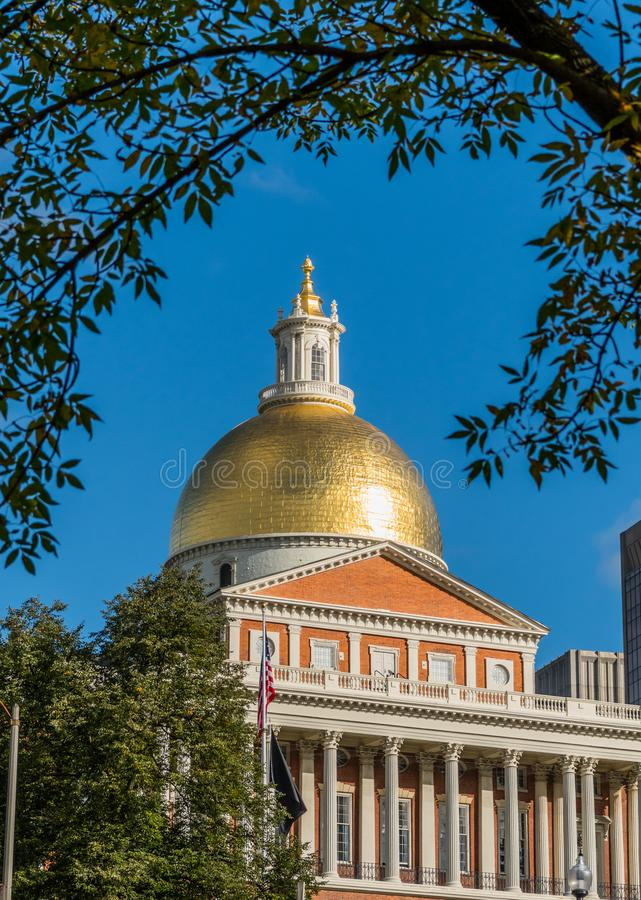 Gold Dome of Massachusetts State House stock photography