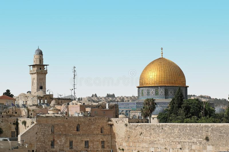 Gold dome of the rock stock image