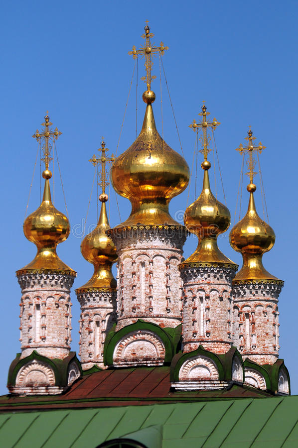 Gold domes of the Ryazan Kremlin. The Ryazan Kremlin — a complex of the istoriko-architectural monuments which are on a place of an initial fortress of stock photo