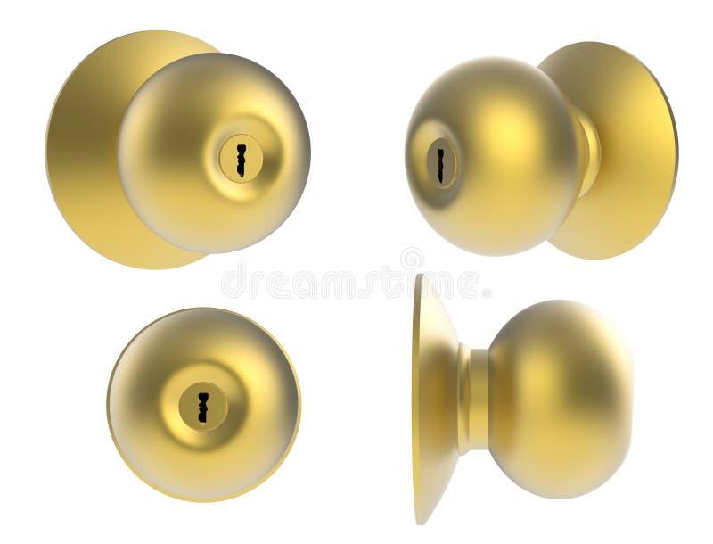 Gold door knob vector illustration