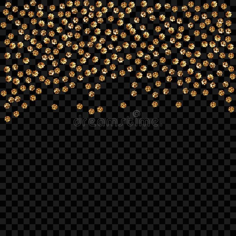 Gold dot on transparent background. Confetti celebration, Falling golden abstract decoration for party, birthday celebrat stock illustration