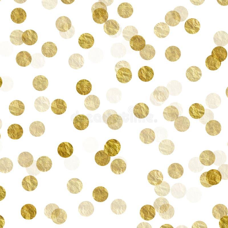 Gold Dots Faux Foil Metallic White Background. Gold Dots on White Faux Foil Metallic Background Pattern royalty free stock photo