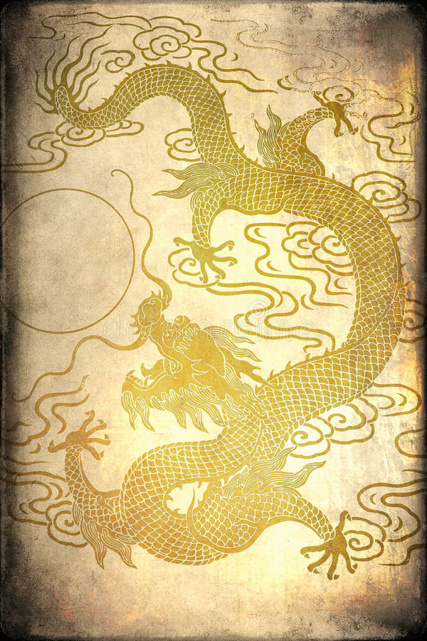 A gold dragon vector illustration