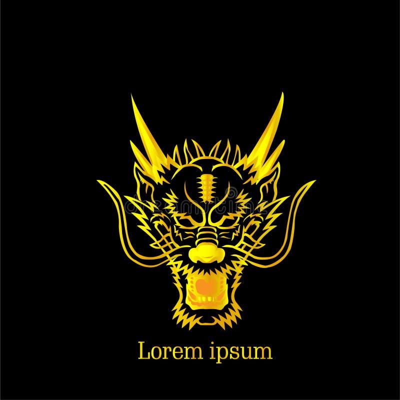 Gold Dragon Chinese Logo With Text lizenzfreie stockbilder
