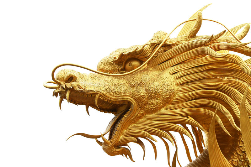 Gold dragon statue in chinese temple stock photography