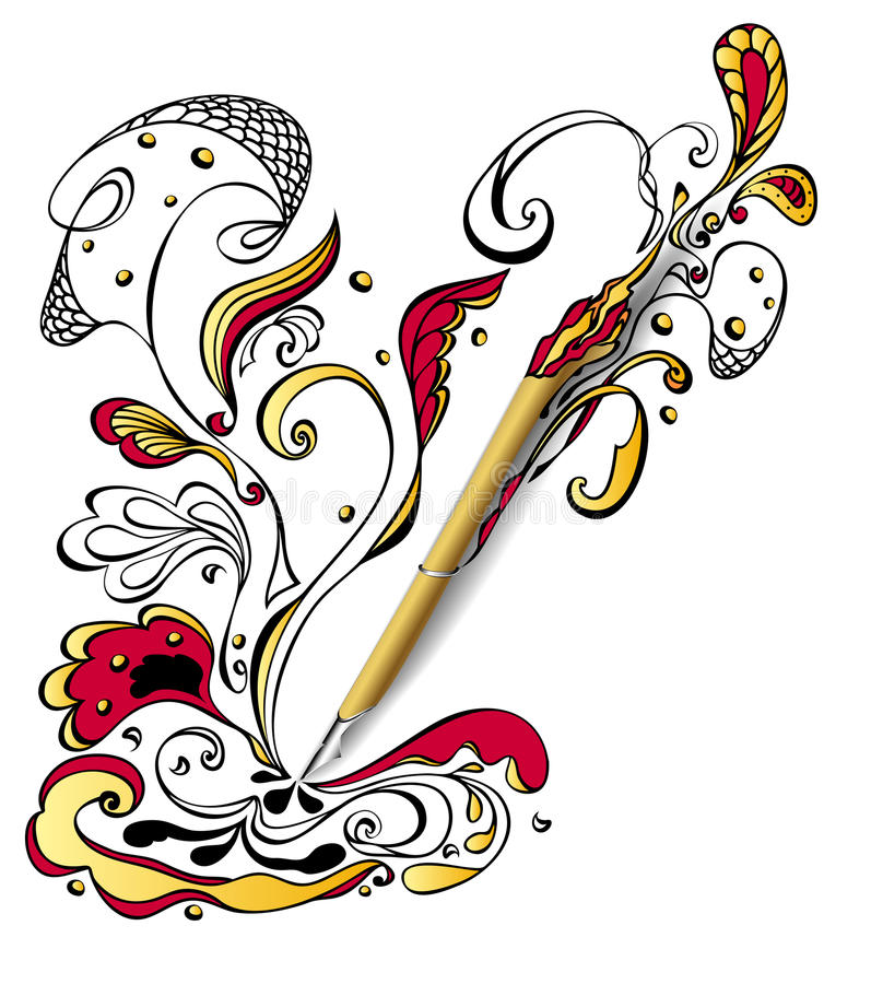 Gold Draw pen with doodle on white. Concept creativity or advertising graphic program or devices or Tattoo parlor royalty free illustration