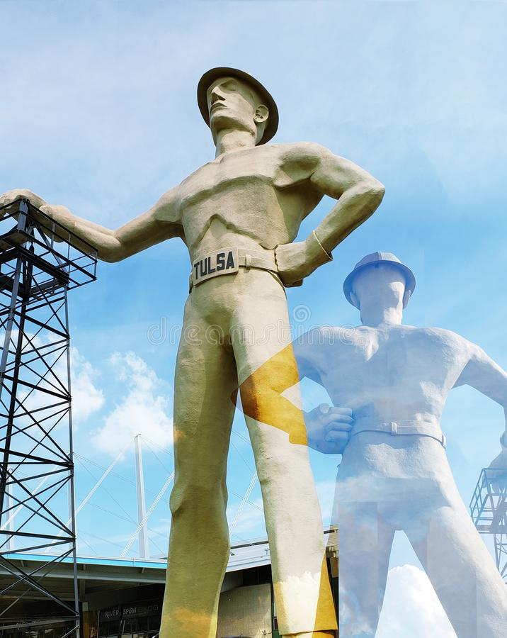 Gold driller front and back , Tulsa Oklahoma USA. Landmarks gold driller front and back, city Tulsa Oklahoma state USA royalty free stock images