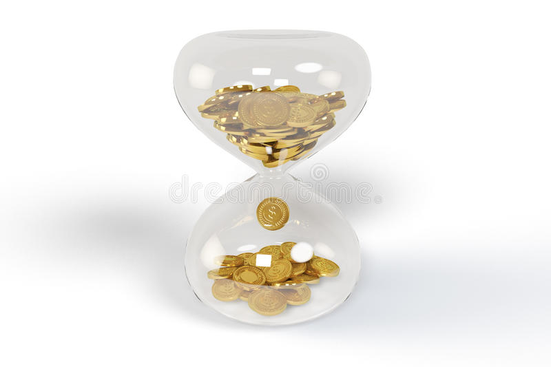 Gold in drop on hourglass. The gold in drop on hourglass, time and money concept stock images