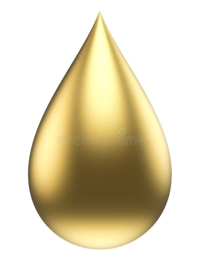 Gold Drop Isolated on White Background royalty free illustration