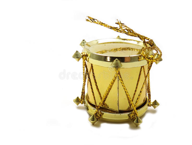 Gold drum Christmas tree ornament. Golden drum Christmas tree ornament on white stock photos