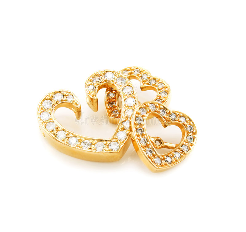 Gold ear-rings with diamonds isolated stock images
