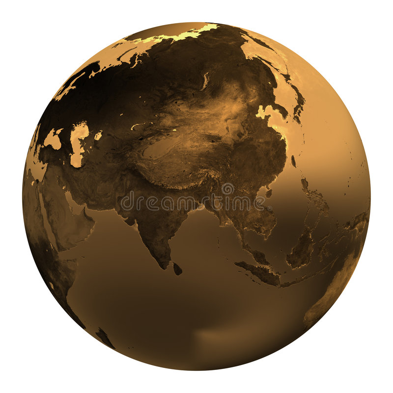 Gold earth 3 royalty free illustration