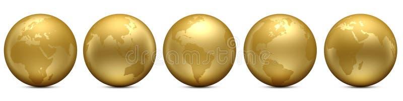 Gold Earth globe set royalty free illustration