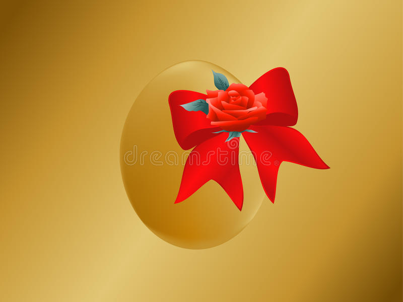 Gold Easter egg with bow stock photos