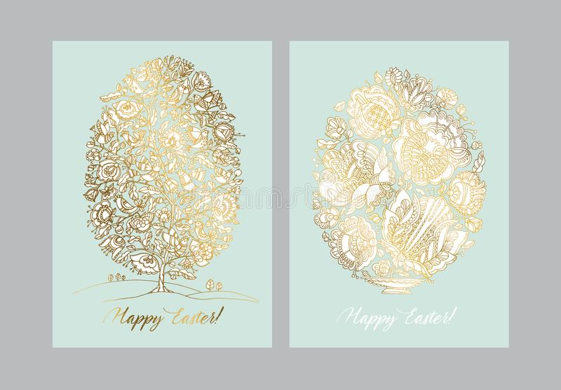 Gold easter egg with folk decorative pattern. Boho style hand drawn stock vector illustration. Fairy tale luxury decorative design element for card vector illustration