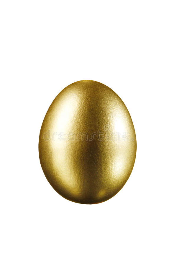Gold Easter egg isolated on a white background royalty free stock photo