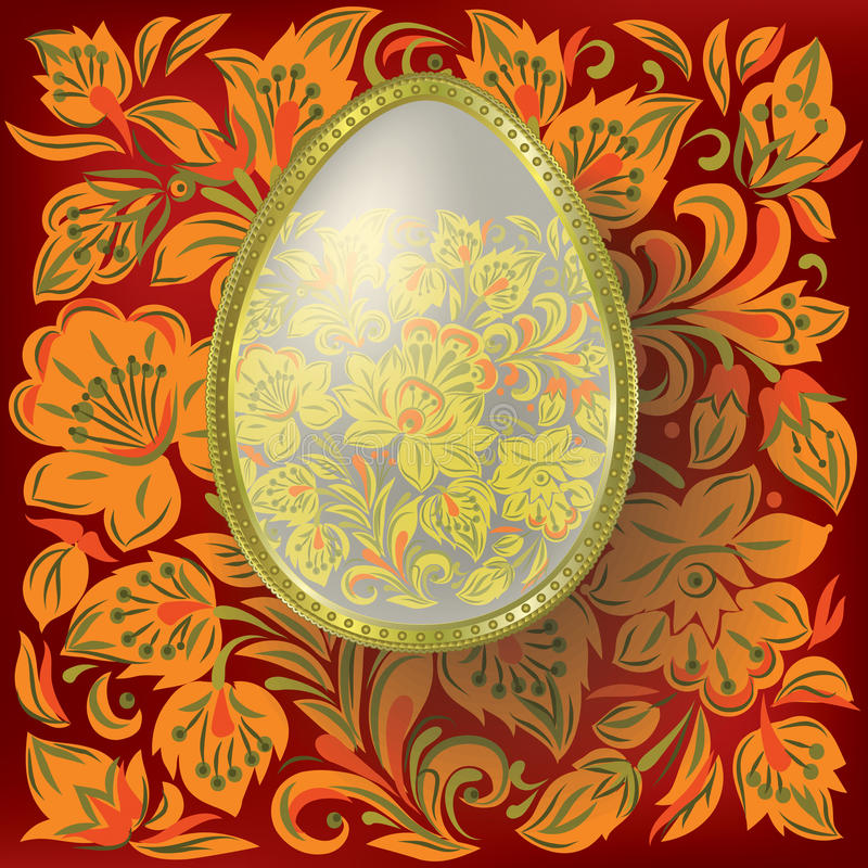 Free Gold Easter Egg On Floral Background Stock Photography - 17734852