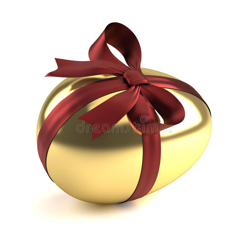 Gold easter egg with red ribbon. Isolated on white background stock illustration
