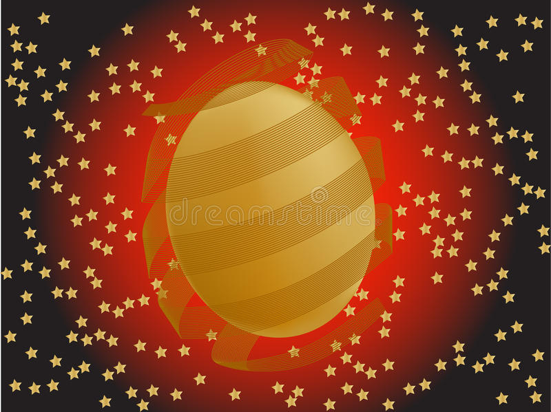 Gold Easter egg with stars royalty free stock images