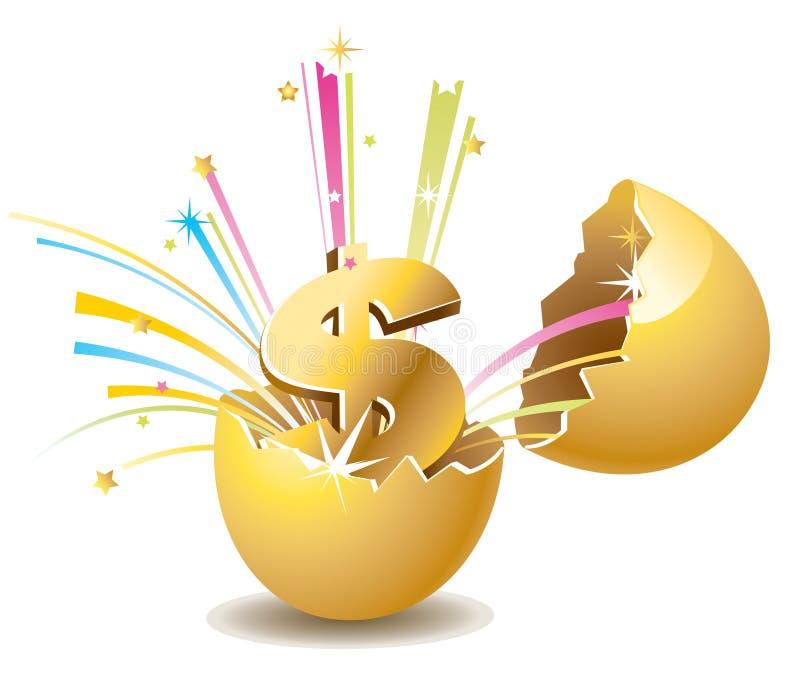 Gold egg. Dollar mark in the gold egg vector illustration