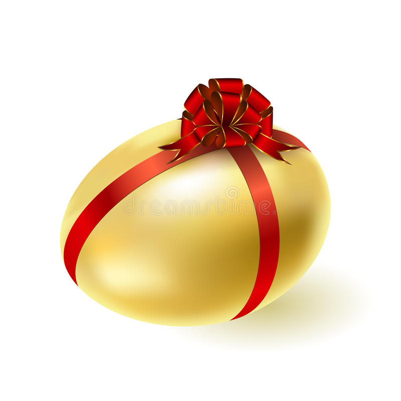 Gold egg,. Gold egg with a red bow. Vector vector illustration