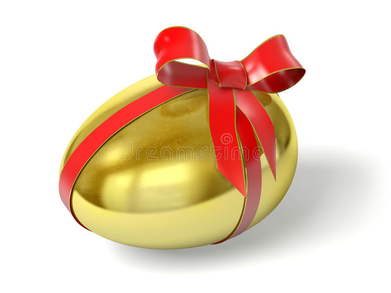 Gold egg. Very high resolution 3d rendering of an Easter gold egg with a red ribbon stock illustration
