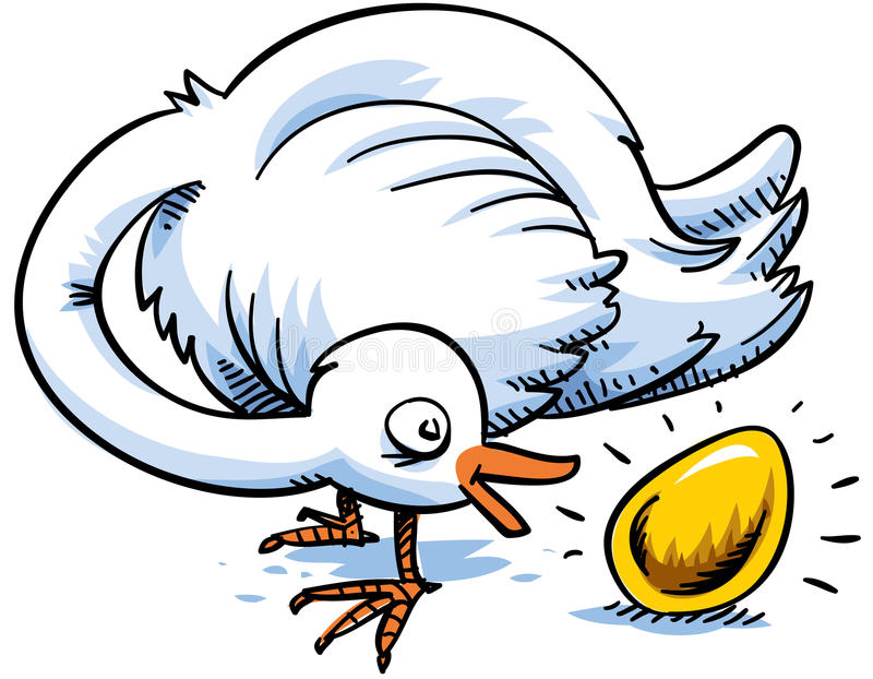 Gold Egg. A cartoon bird is surprised to find that it has laid a gold egg vector illustration