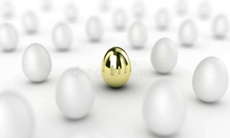 Gold egg. Illustration of gold egg among many white royalty free illustration