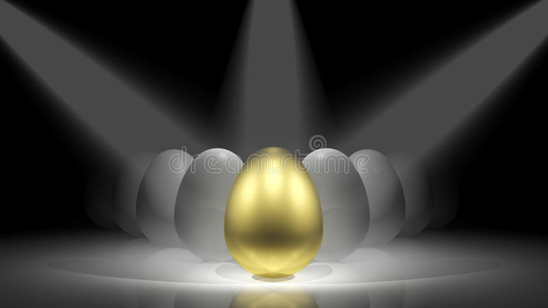 Gold egg. In front of white eggs on the stage stock illustration