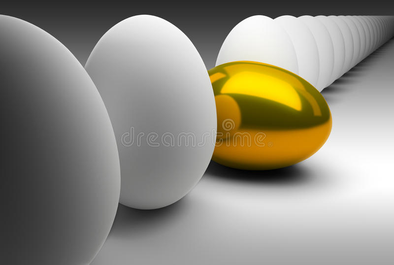 Gold egg in dropped out of a general series. Of usual eggs. 3d image. Exclusiveness, a rarity, a non-standard stock illustration