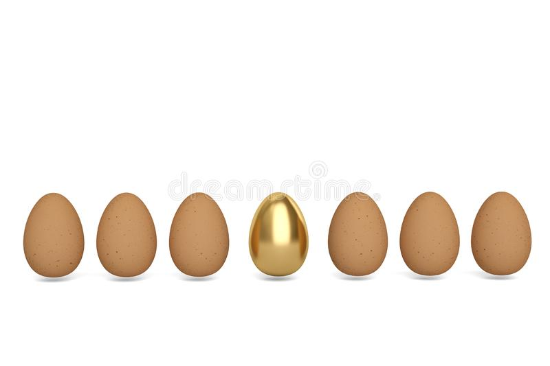 Gold egg and eggs on white background. 3D illustration. Gold egg and eggs on white background. 3D illustration royalty free illustration