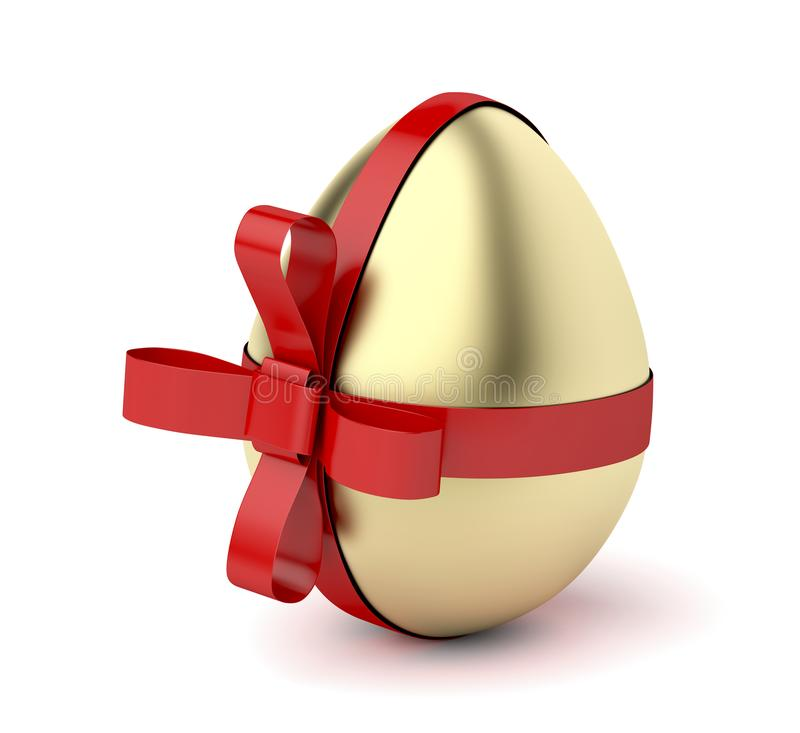 Gold egg with red ribbon. Easter decoration vector illustration