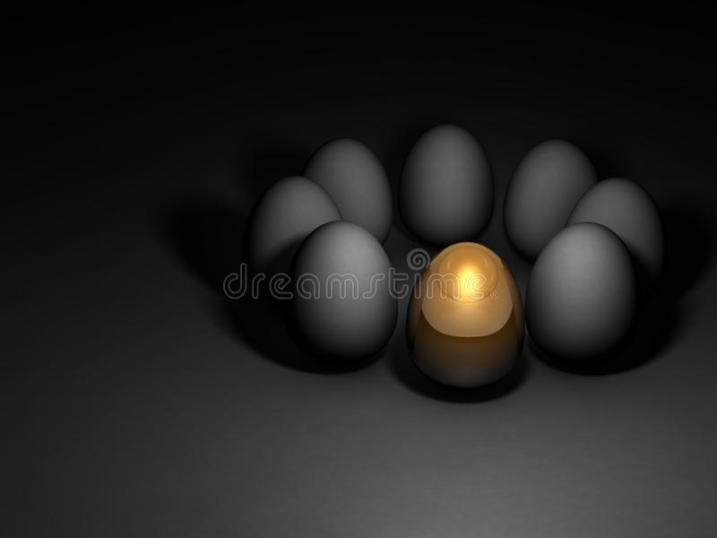 A gold egg that stand out among others. Dark background. 3D illustration stock illustration