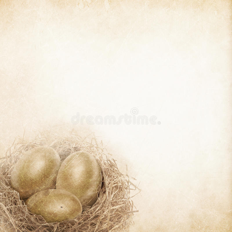 Gold egg in vintage background. Gold egg in vintage feel means long term investment stock illustration