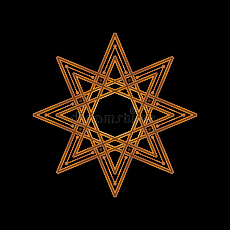 Gold eight-pointed star on black background. Vector illustration. Corporate icon such as logotype and logo design template. Gold stock illustration