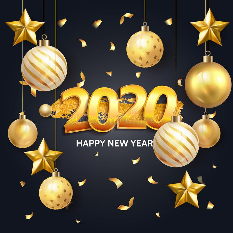 Gold elegant Invitation happy new year 2020 ink splash poster banner card template with christmas glass ball. Vector Happy winter vector illustration