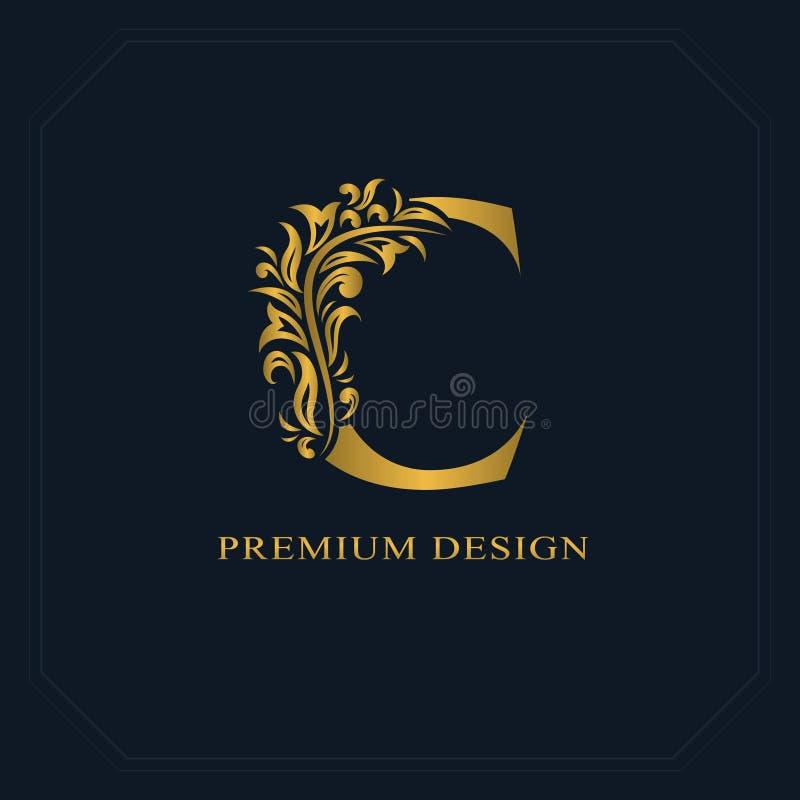gold elegant letter c graceful style calligraphic