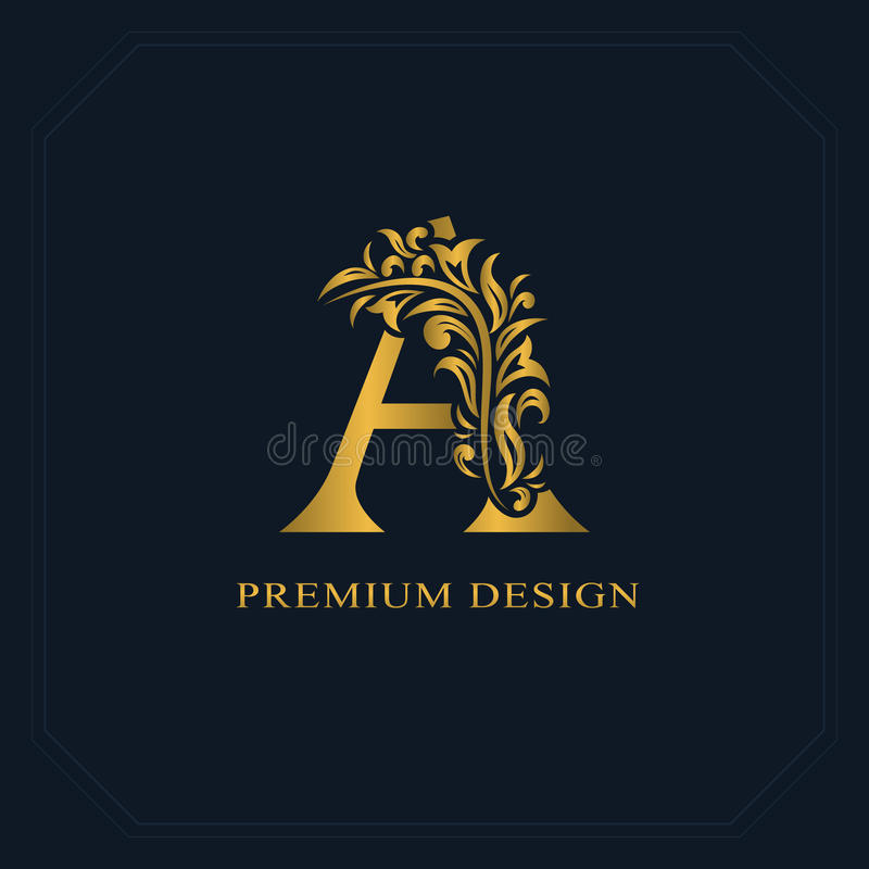 Gold Elegant letter A. Graceful style. Calligraphic beautiful logo. Vintage drawn emblem for book design, brand name, business car. D, Restaurant, Boutique royalty free illustration