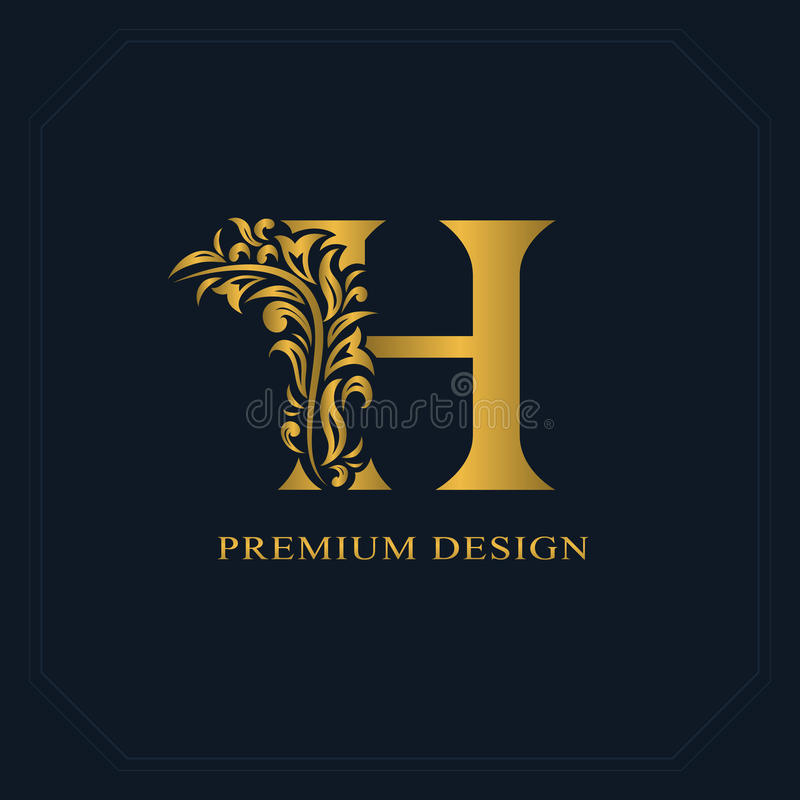 Gold Elegant letter H. Graceful style. Calligraphic beautiful logo. Vintage drawn emblem for book design, brand name, business car. D, Restaurant, Boutique stock illustration