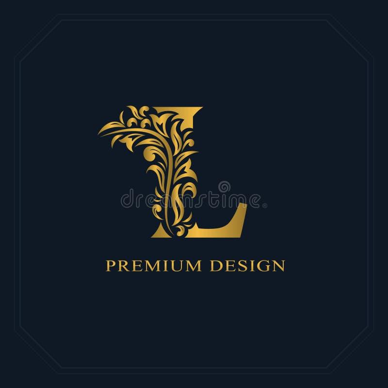 Download Gold Elegant Letter L Graceful Style Calligraphic Beautiful Logo Vintage Drawn Emblem