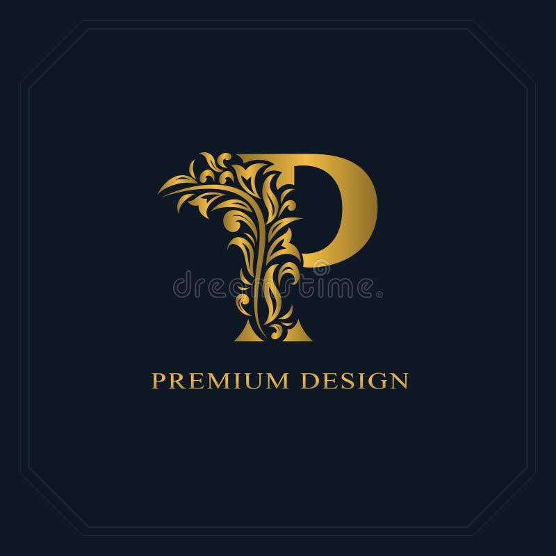 Gold Elegant Letter P....P Logo Name