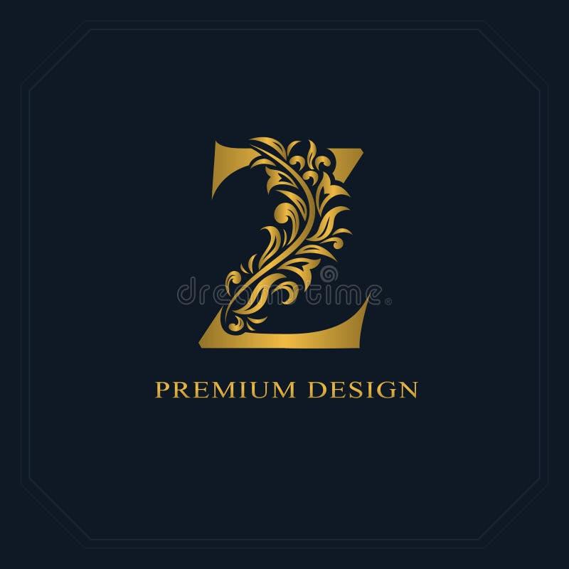 Download Gold Elegant Letter Z Graceful Style Calligraphic Beautiful Logo Vintage Drawn Emblem