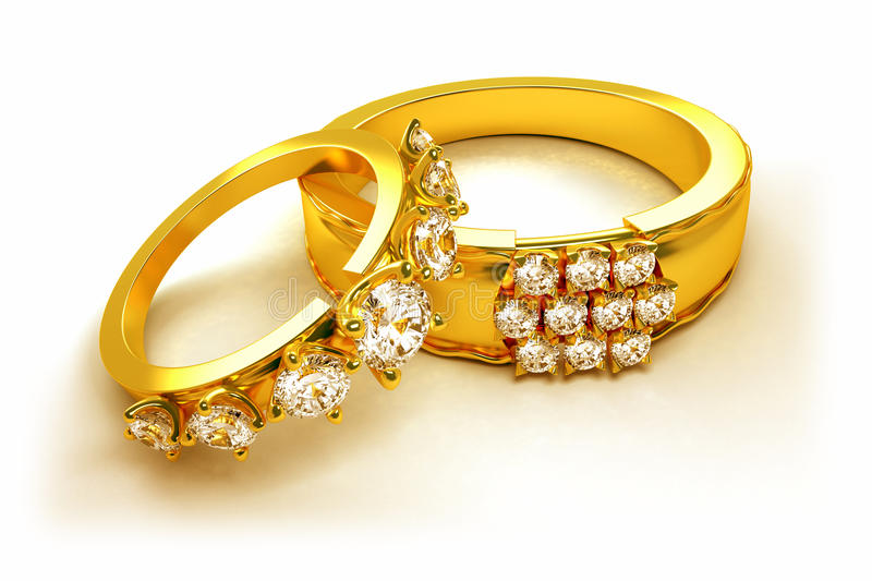 Gold Engagement Ring stock illustration