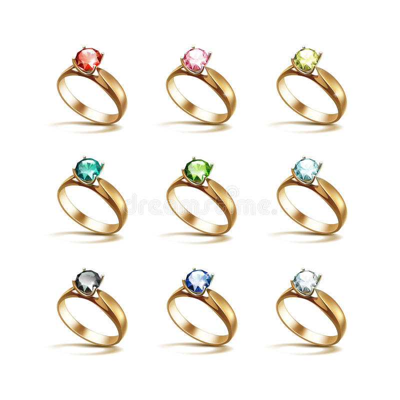 Gold Engagement Rings Red Pink Blue Green Black White Diamonds royalty free illustration