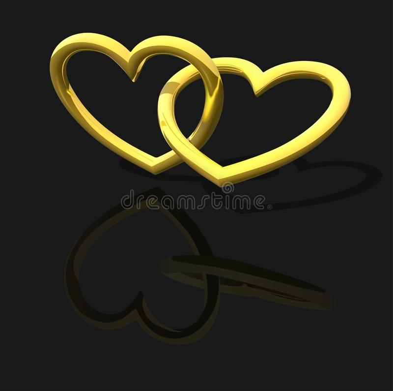 Download Gold Entwined Hearts stock vector. Illustration of greetings - 18445184