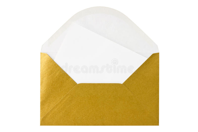 Gold envelope with blank letter. Isolated on white background royalty free stock photos