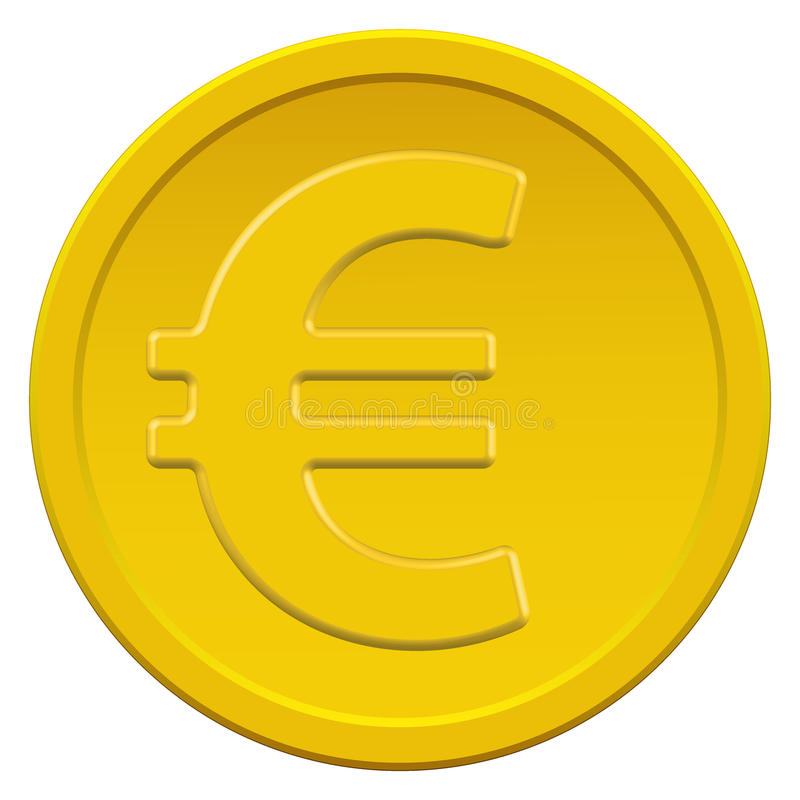 Gold euro coin. Gold coin icon with the euro symbol royalty free illustration