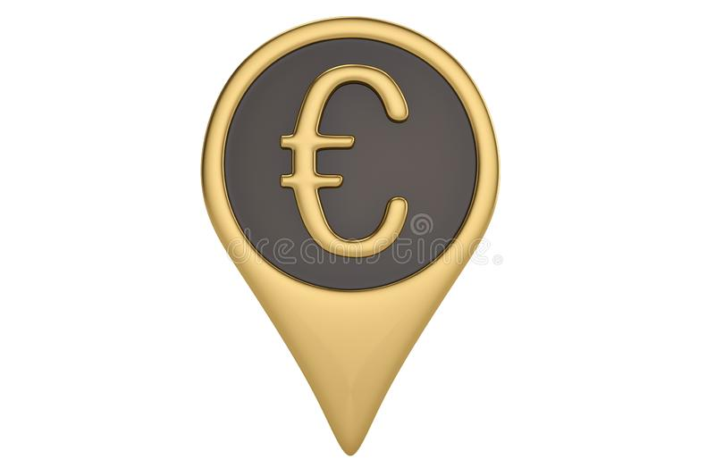 Gold euro pin icon on white backgroun.3D illustration. Gold euro pin icon on white backgroun. 3D illustration royalty free illustration