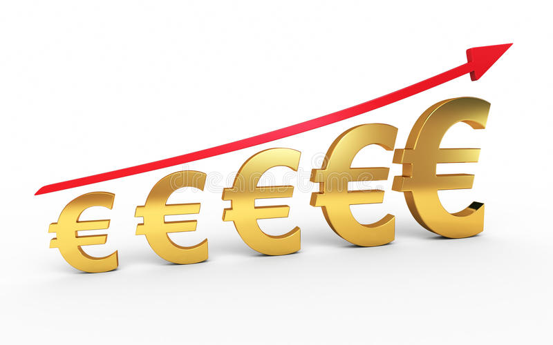 Gold euro signs graphic royalty free stock photo