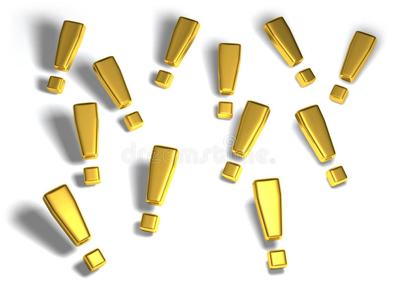 Gold exclamation marks stock photography